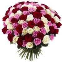 Bouquet 101 multi-colored rose