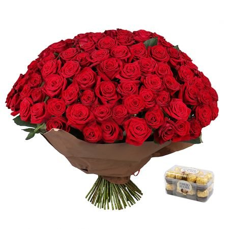 Bouquet 101 roses  + Candies Ferrero Rocher