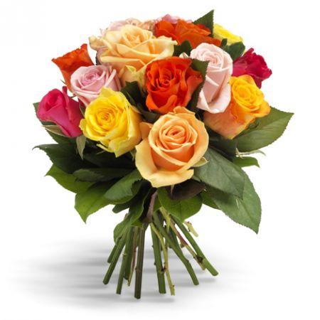 Bouquet 11 різнокольорових троянд