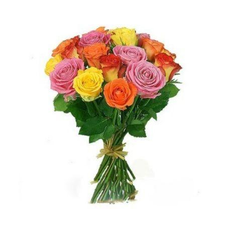 Bouquet 15 multicolored roses