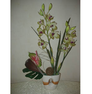 Bouquet Composition of two green orchids and anthurium