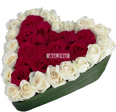Bouquet Contrast rose heart