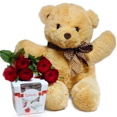 Product 5 roses + teddy bear + Raffaello