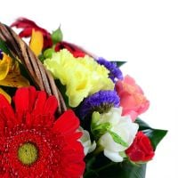 Nice and beautiful bouquet in a basket - perfect gift