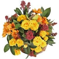 Order with delivery yellow bouquet ''Autumn mix of 9 flowers''