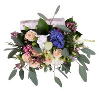 Tender bouquet, flowers in box, angelic flowers, bouquet with archids, box with orchid, gentle flowe