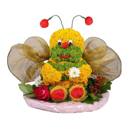 Flower toy, flower bee, composition of flowers, unusual gift, flower delivery, flowers for children