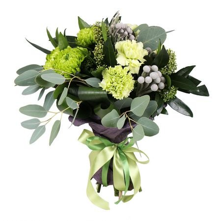 Bouquet Mix of Flowers in Green Tones