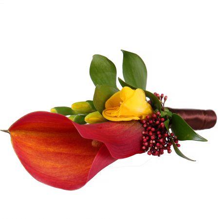Order wedding Orange boutonniere in online flower shop