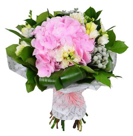 Elegant bouquet with delivery, bouquet made from pink hydrangea and white freesia.