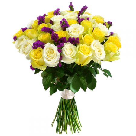 Bouquet Yellow and white roses 45 pc
