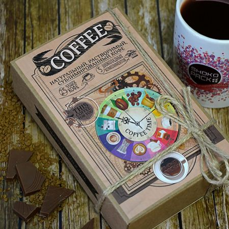 Order original coffee set with delicious chocolate bars. Fast delivery to any city.