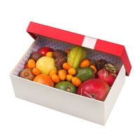 Box with exotic fruits
