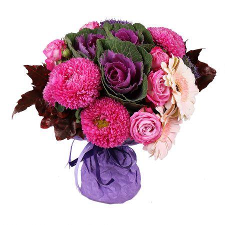Autumn bouqet, raspberry bouquet , bouquet with asters, bouquet with antumn leaves, bouquets with as
