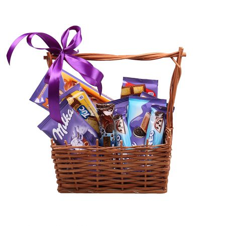 Milka-basket, Basket of Milka, basket of chocolate, basket of sweets, order gift, gift delivery, swe