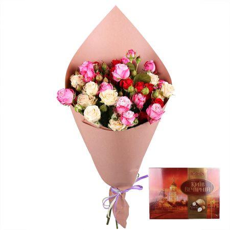Bouquet Нежность сапфира + Конфеты «Киев вечерний»