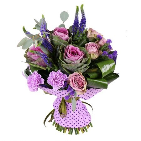 Buy an unusual bouquet in purple tones with delivery