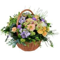 The original bouquet 'Garden in a basket' to buy in the Internet shop of flowers