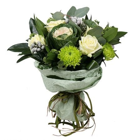 Scandinavian bouquet, unusual bouquet, bouquet with roses, bouquet with brunia, bouquet with brassic