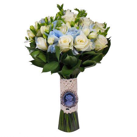 Blue bridal bouquet, blue bouquet, blue wedding bouquet, blue bouquet for bride, tender bridal bouqu