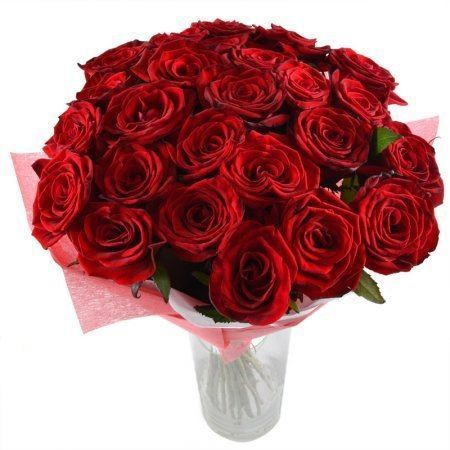 Bouquet Flame of senses 25 roses 60 cm