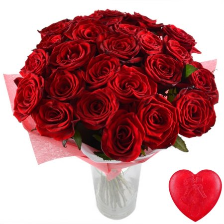 Bouquet Flame of senses 25 roses + soap for free