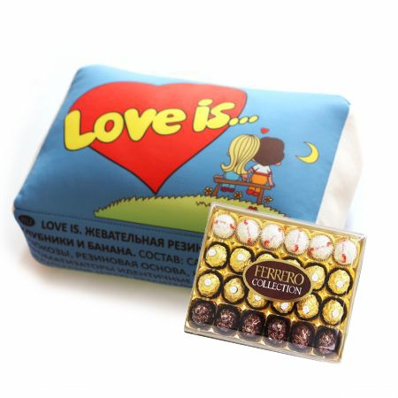 Product   Подушка Love is + Конфеты Ferrero Rocher Collection