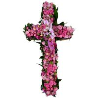 Funeral composition in the form of a cross. Order at any time of the day.