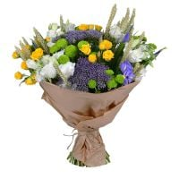 Buy original bouquet of roses and irises ''Field with with spikelets''