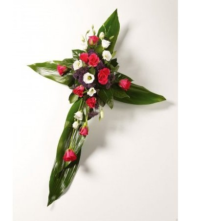 Bouquet Funeral Cross red