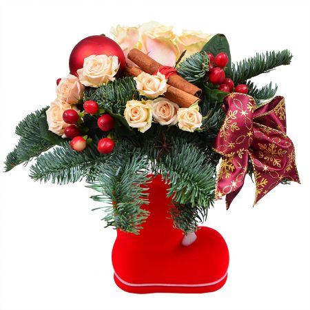 Buy New Year arrangement of fir branches and flowers