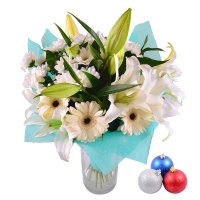 Bouquet Daisy + Christmas balls