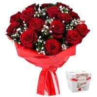 Bouquet Roses in snow + Raffaello