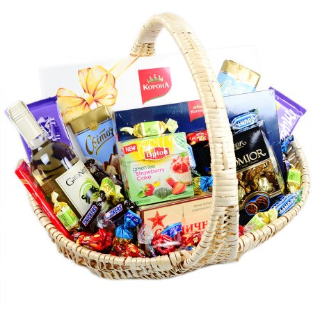 Product Sweet basket with wine
