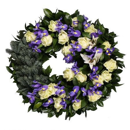 Bouquet Funeral Wreath with Irises