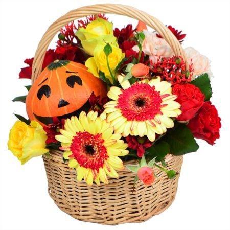 Bouquet Flower basket with pumpkin