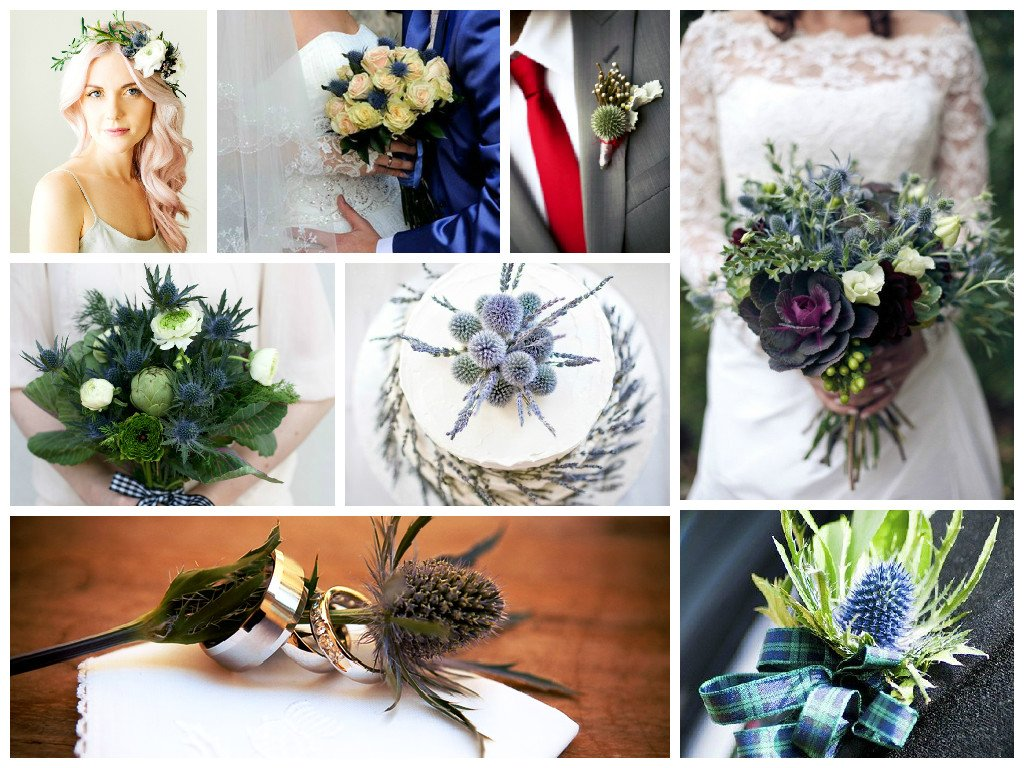 thistle in wedding decore