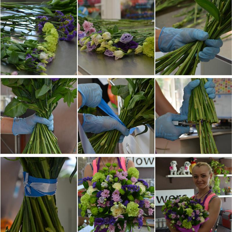 Оформление букетов из живых цветов пошаговое фото