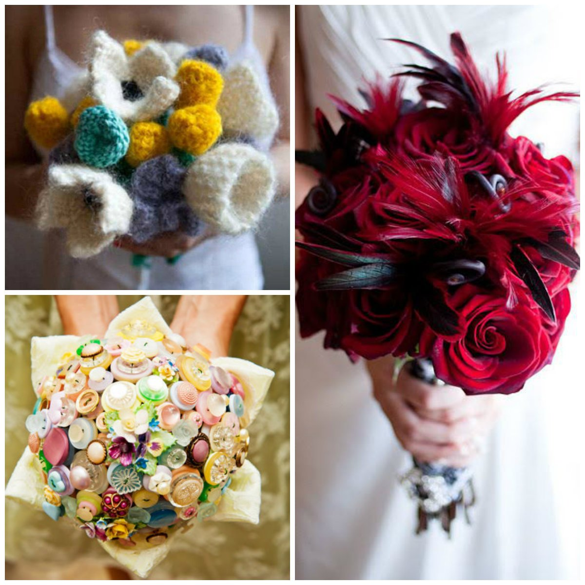 Bouquets with buttons, knitted flowers and plumage