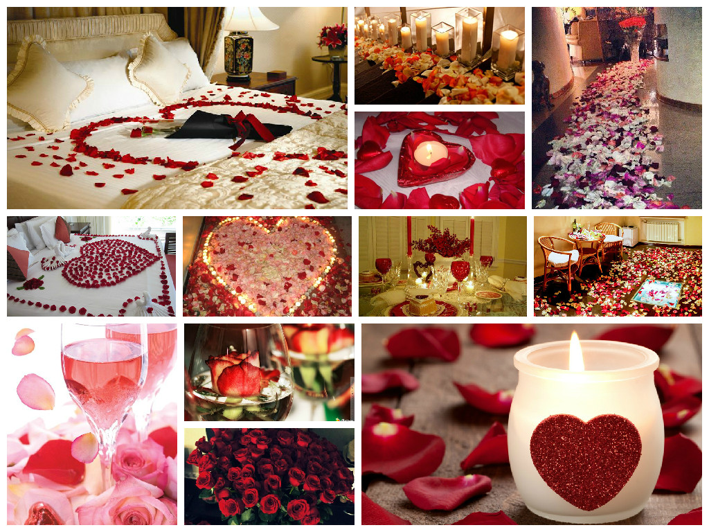 Romantic ideas using rose petals